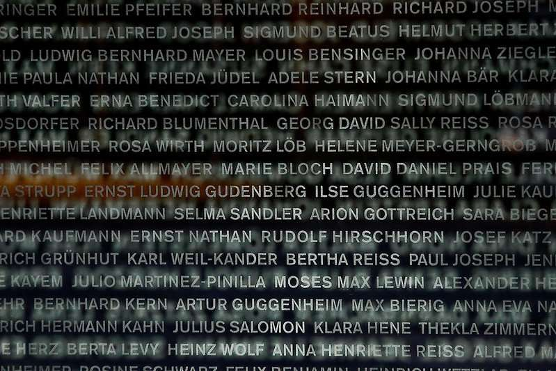Names of local Holocaust victims on a memorial in Mannheim, Germany