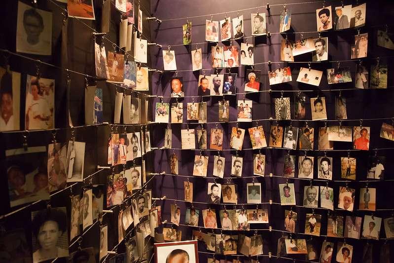 Family photographs in Rwanda genocide memorial